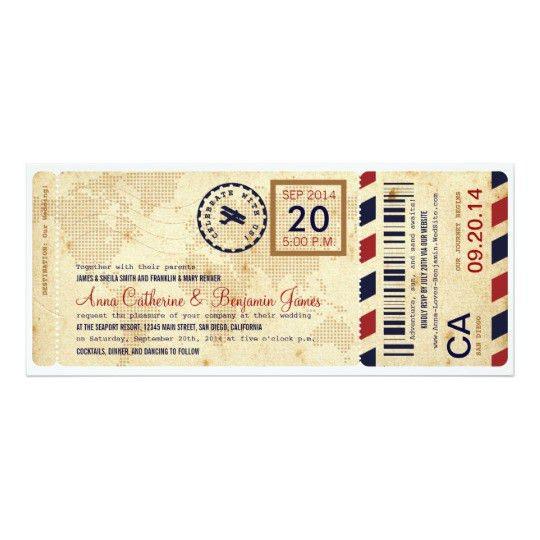 Airline Boarding Pass Ticket Wedding Invitation   Zazzle.com