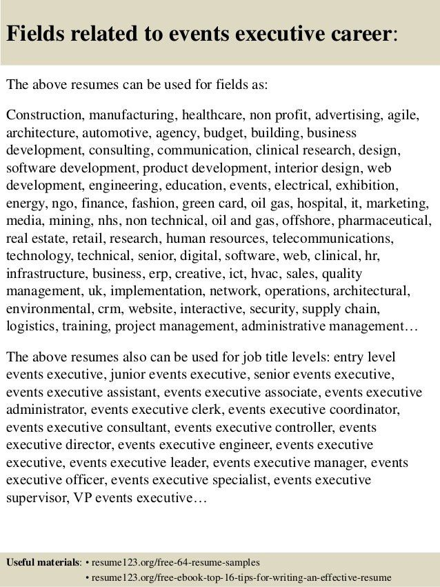 Top 8 events executive resume samples