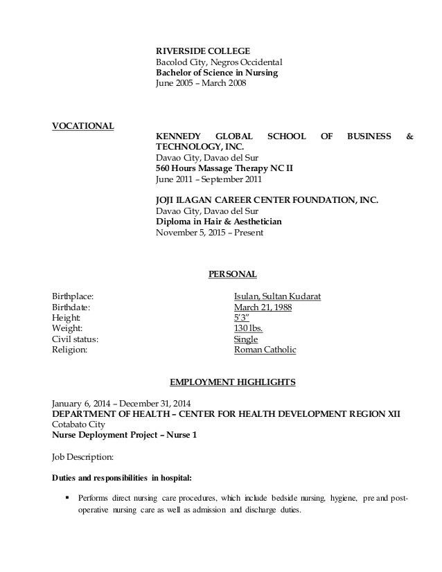 registered nurse job description for resumes