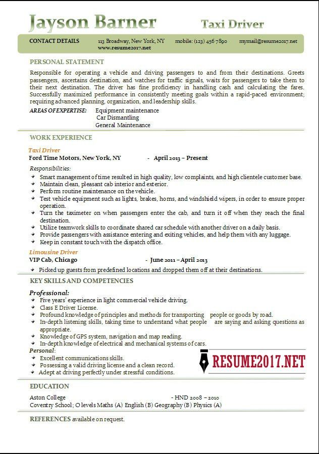 Taxi Driver resume examples 2017 •