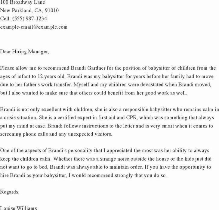 Sample Babysitter Reference Letter Templates | Download Free ...