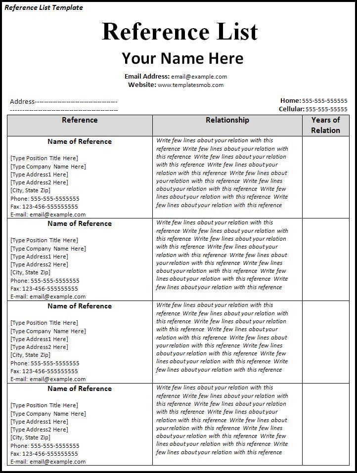 reference list example reference list template 18 free sample