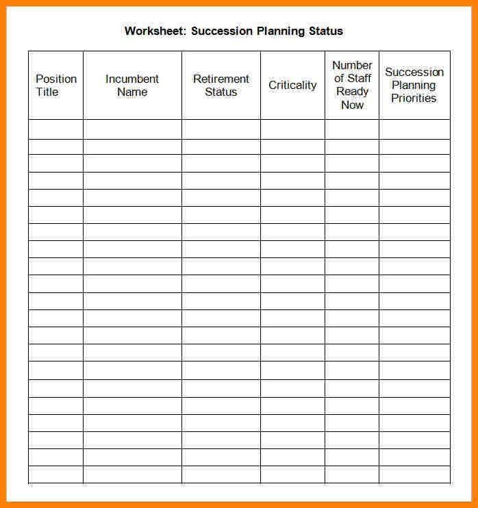 Succession Planning Worksheet Worksheets For School - Toribeedesign