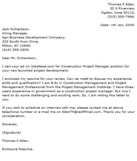 project manager cover letter examples cover letter now