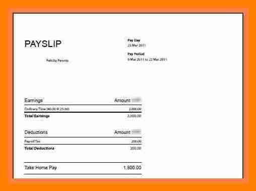 Format Of A Payslip Payslip Format Word And Excel Formats – Basic Payslip Template