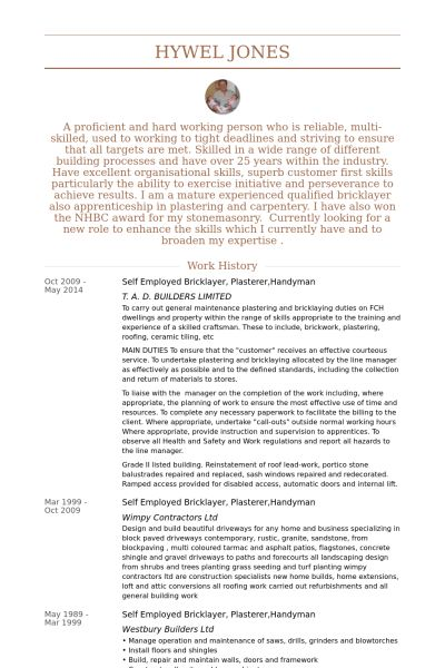 Handyman Caretaker Sample Resume Sample Resume For Handyman