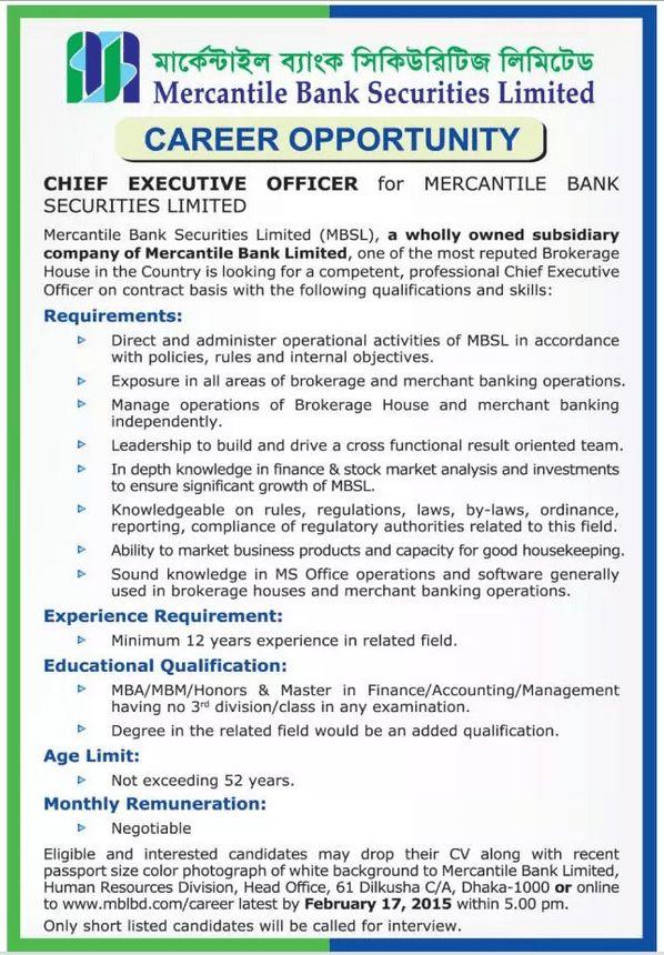 Chief Executive Officer (CEO) Jobs at Mercantile Bank Securities ...