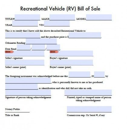 Free Recreational Vehicle (RV) Bill of Sale Form | PDF | Word ...