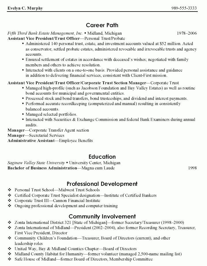 Assistant VP Trust Officer Resume - Assistant VP Trust Officer ...