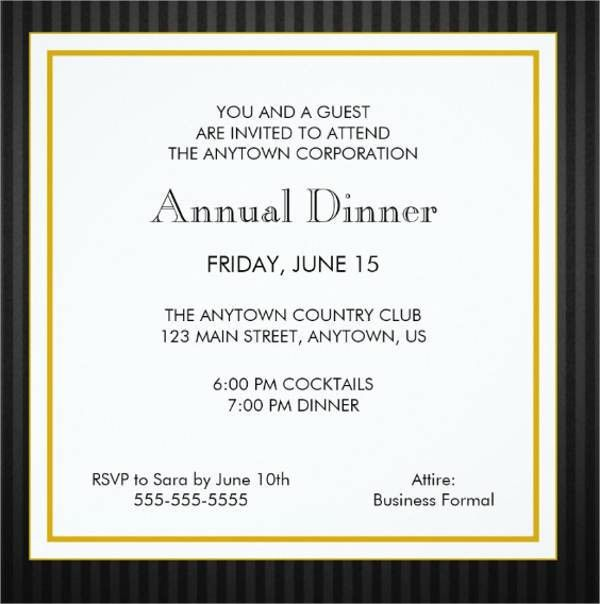 8+ Formal Dinner Invitation - Free Sample, Example, Format ...