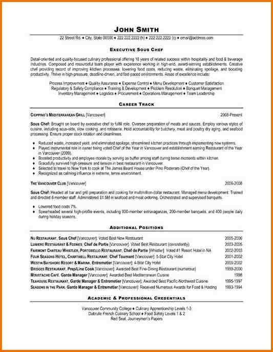 Sous Chef Resume Examples. Chef Resume Sample With Cook Resume ...