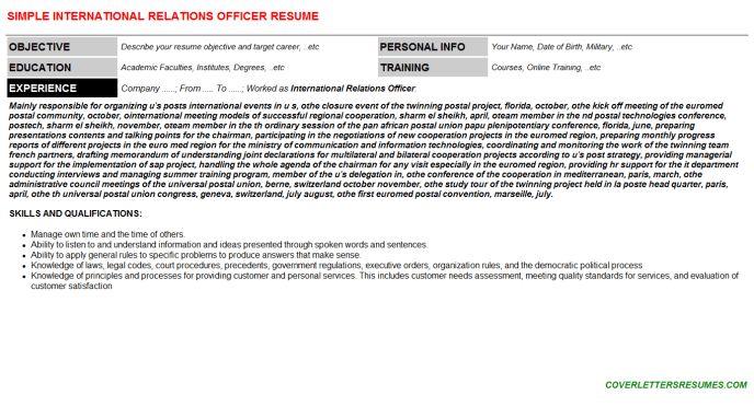 International Relations Officer Cover Letter & Resume