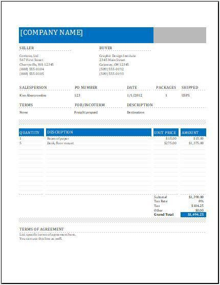 MS Excel Shipping Sales Invoice | Word & Excel Templates
