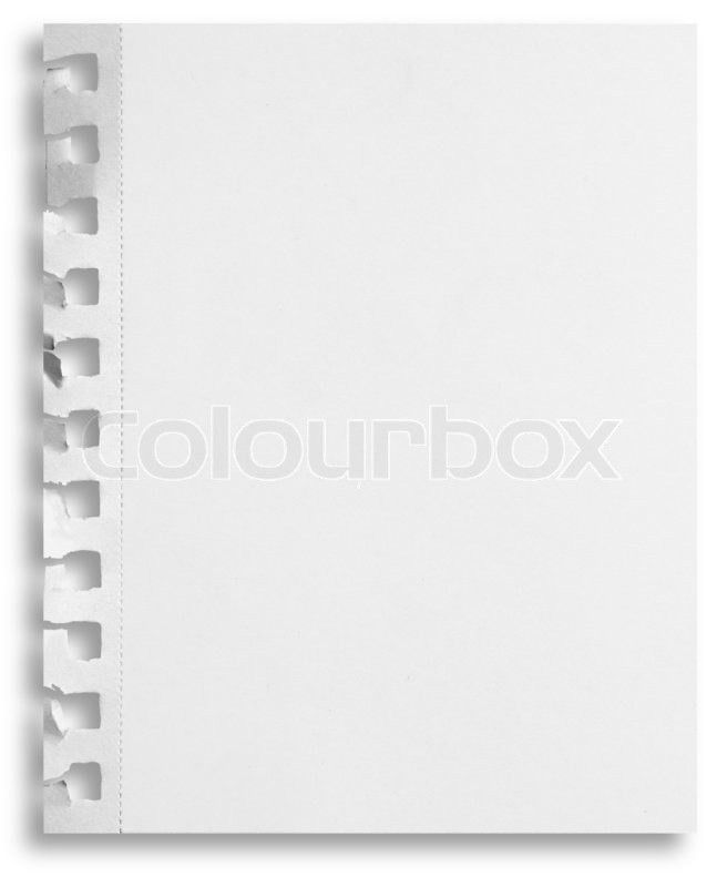 Blank white paper sheet with torn holes in left side isolated on ...