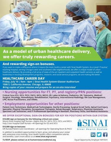 Sinai Health System hosts Career Day on July 10 | Sinai Health System