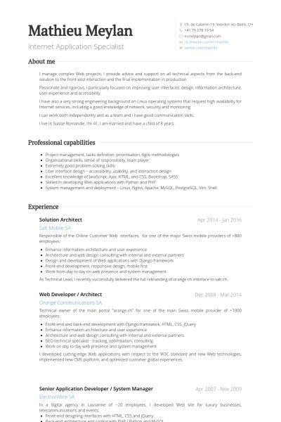 Solution Architect Resume samples - VisualCV resume samples database