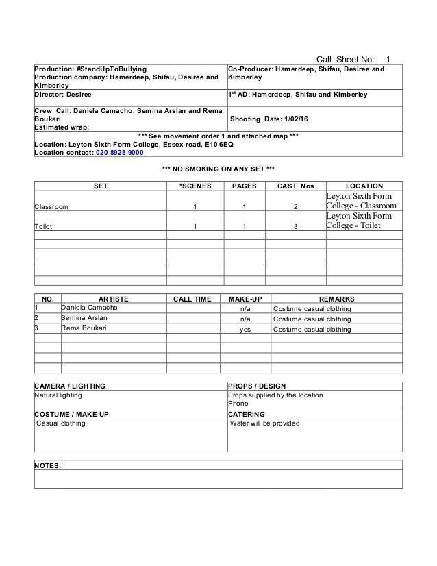 Call sheet blank template