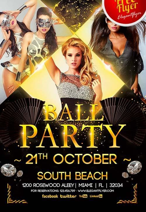 Download Free Ball Party Flyer PSD Template