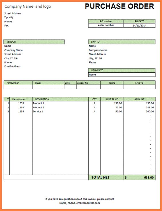 Purchase Order Template Excel.Standard Format Of Purchase Order ...