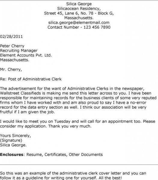 office clerk cover letter samples resume genius with 19 terrific - Office Clerk Cover Letter