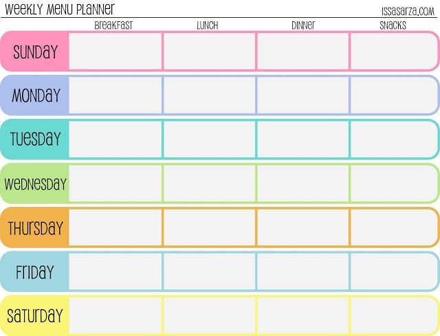 meal plan template | Free Printable Weekly Meal Planner | Large ...