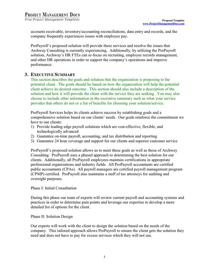 Project management Proposal Template in Word and Pdf formats ...