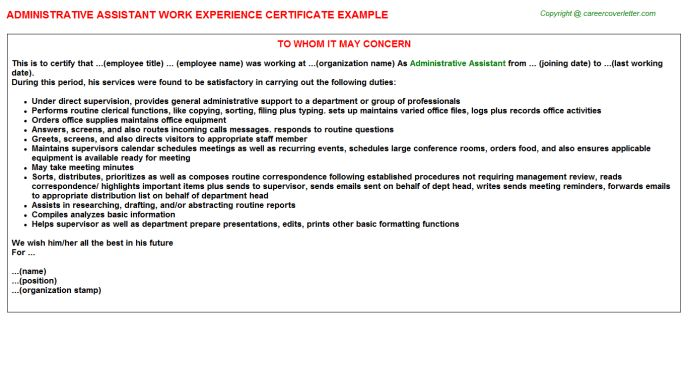 Administrative Assistant Work Experience Certificate