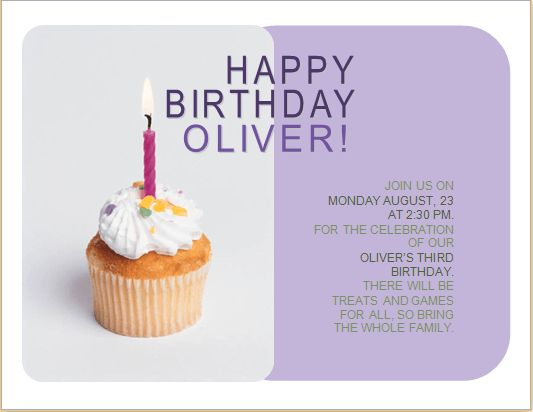 Happy Birthday Invitation Card Customizable MS Word | Word ...