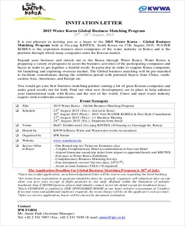 Sample Business Invitation Letter   6+ Examples In Word, PDF  Business Event Invitation Letter