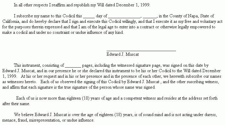 Example Document for Codicil