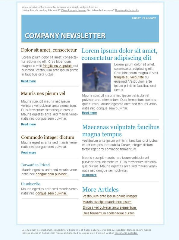 Blue Email Marketing Newsletter Template - Free PSD Files