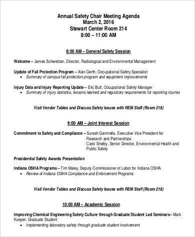 Sample Meeting Agenda Format - 8+ Examples in PDF