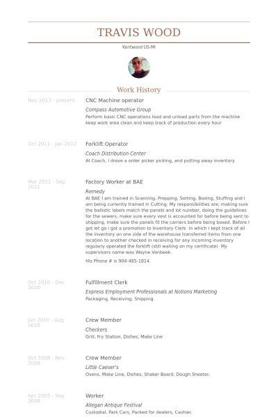 Cnc Machine Operator Resume samples - VisualCV resume samples database
