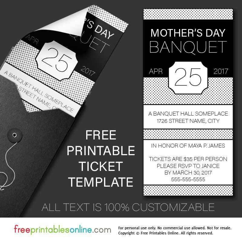 Free Printable Banquet Ticket Template | Free Printables Online