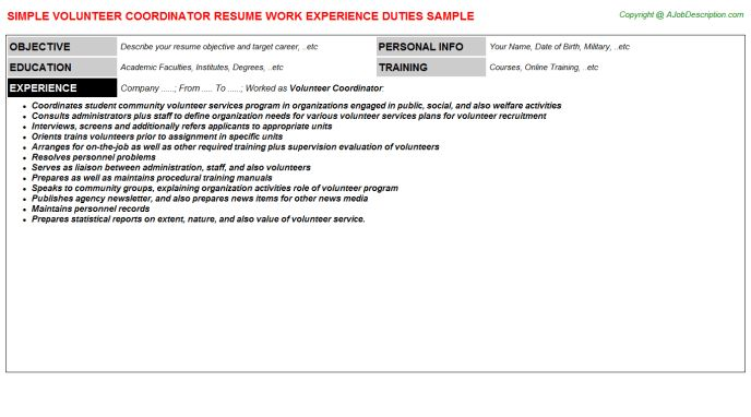 Best Photos of Volunteer Job Descriptions For Resume - Volunteer ...