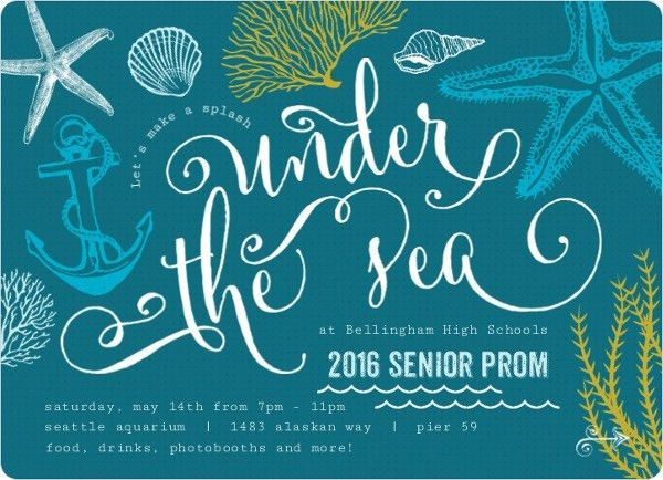 Teal Sketchy Under The Sea Prom Invitation | 5th grade dance ...