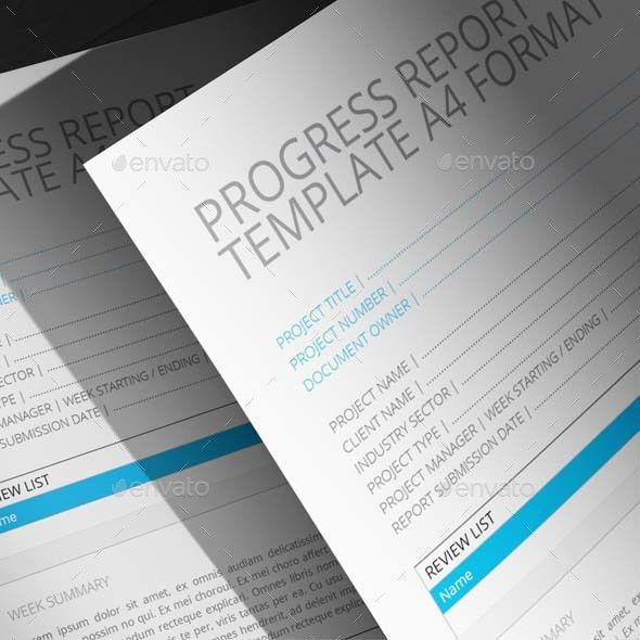 Progress Report Template A4 Format by Keboto | GraphicRiver