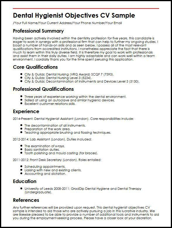 Dental Hygienist Objectives CV Sample | MyperfectCV