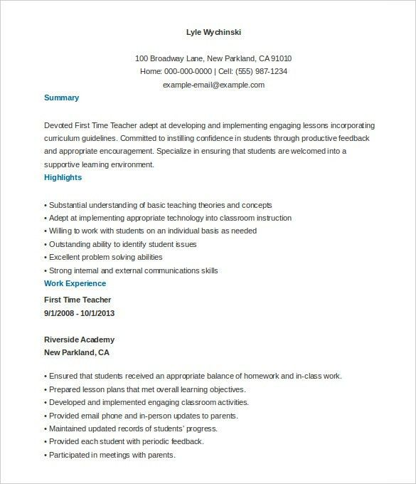 First Time Teacher Resume | haadyaooverbayresort.com