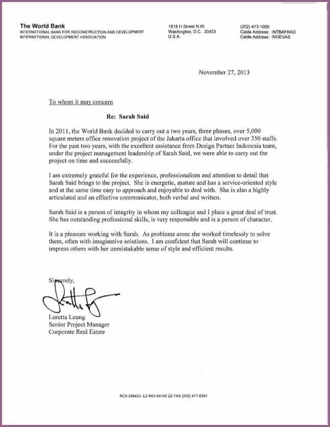 Financial Reference Letter Template. Academic Reference Letter ...