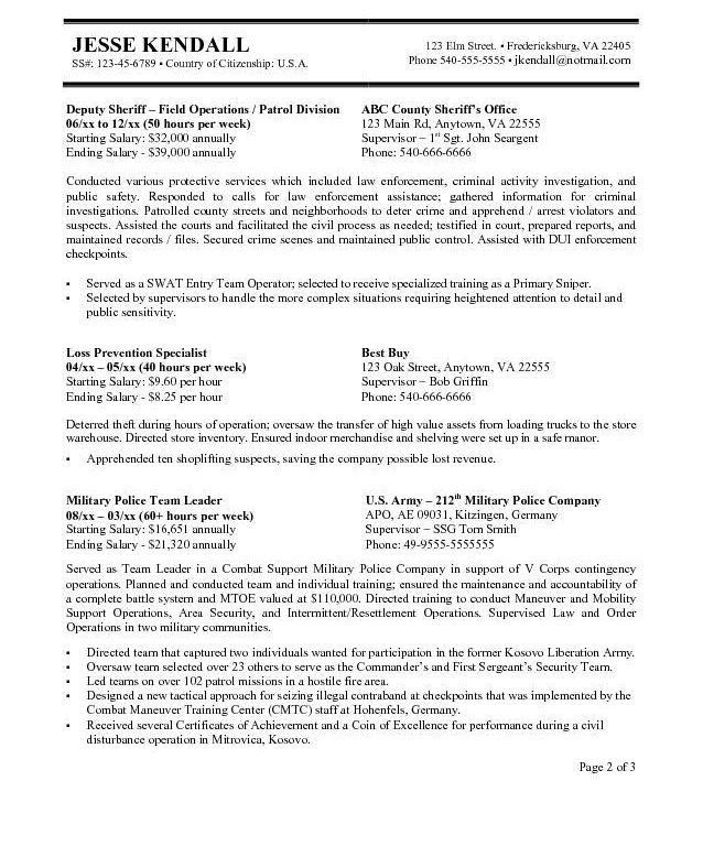 Law Enforcement Resume Template. Law Enforcement Resume Template ...