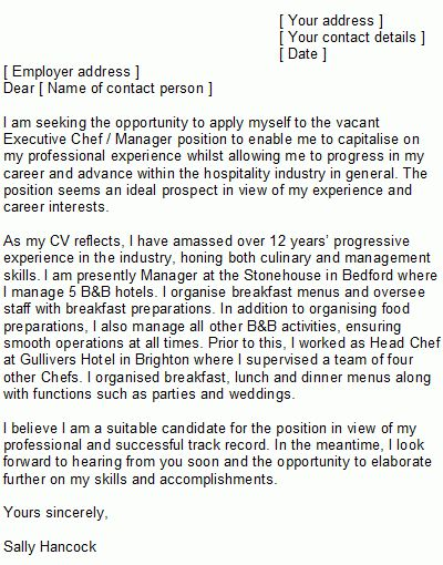 Sample Chef Cover Letter