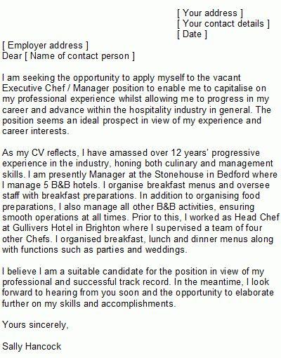 Sample Executive Chef Cover Letter - http://www.resumecareer.info ...