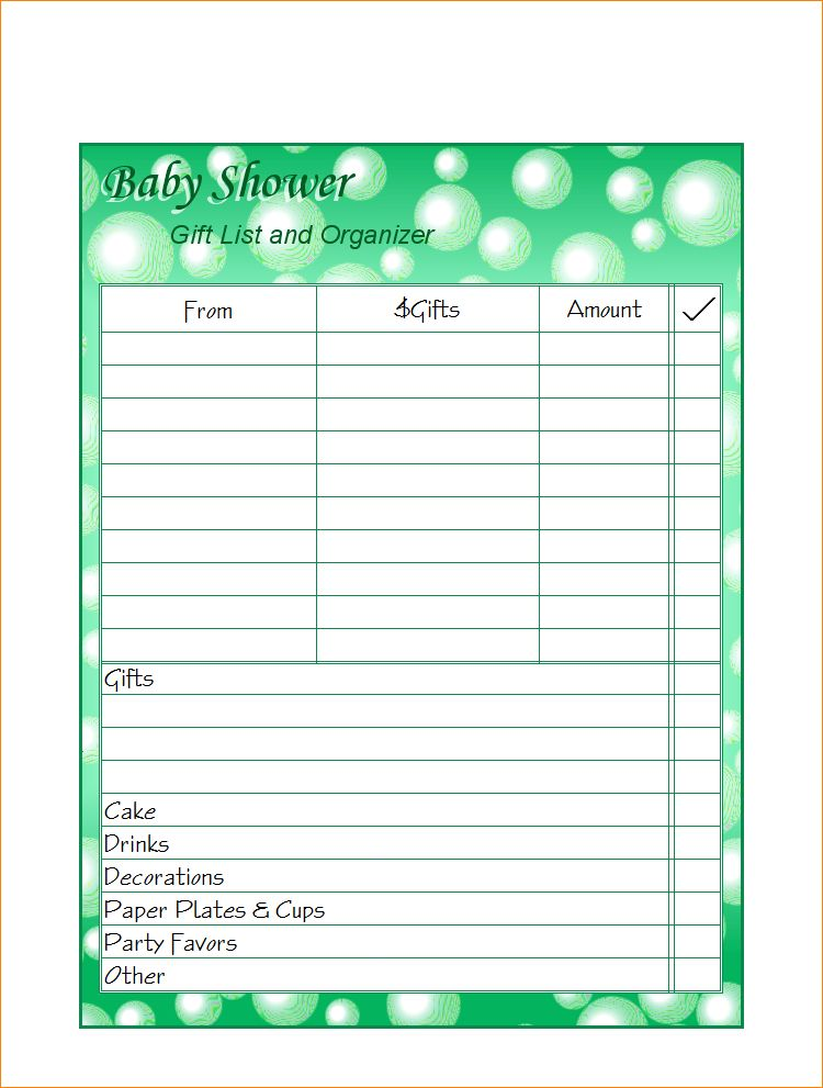 3+ baby shower guest list template | Outline Templates