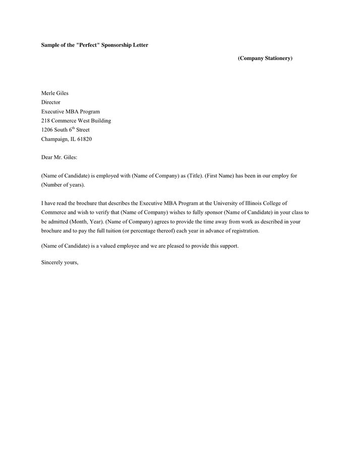 Sample of'Perfect' Sponsorship Letter in Word and Pdf formats