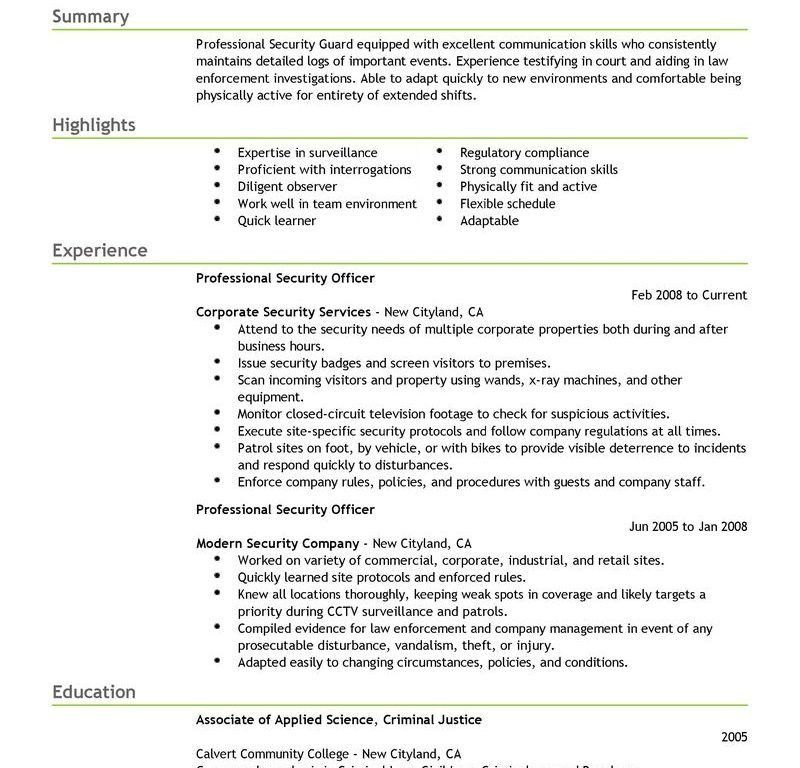 Excellent Security Resume Sample 12 Best Professional Officer ...