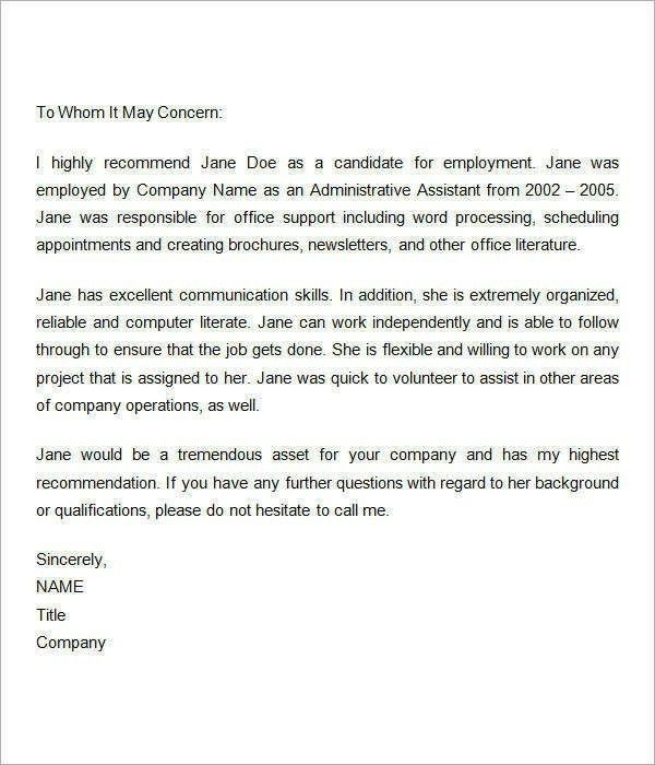 Letter Of Recommendation Template For Employee | The Letter Sample