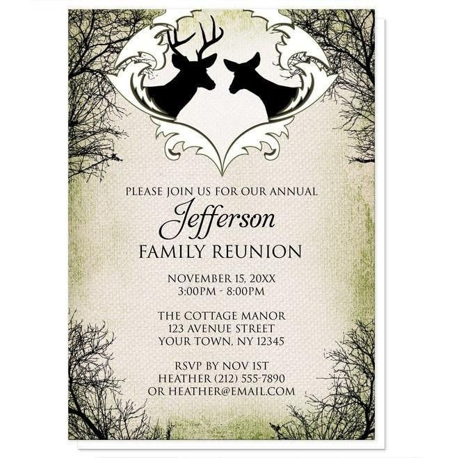 Deer Frame Canvas Family Reunion Invitations at Artistically Invited