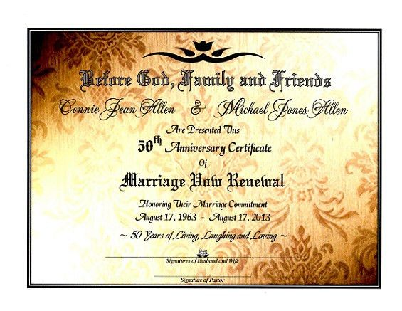 Sacred Golden Shimmer' Marriage Vow Renewal Certificate