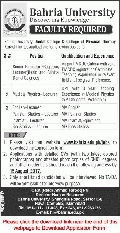 Bahria University Karachi Jobs July 2017 August Application Form ...